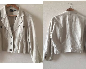 vintage 90's CREAM CROPPED linen BLAZER - LizSport, small