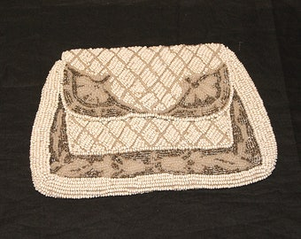 Vintage 1930s Art Deco Beaded Hand Bag Purse Clutch Great Gatsby Made in France Evening Bag Wedding Handbag White Gray Seed Beads Flapper