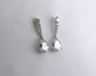 CZ teardrop earrings,Wedding earrings, Crystal earrings, Floral earrings, Petite earrings, Silver,Prom earrngs, Bridesmaid earrings