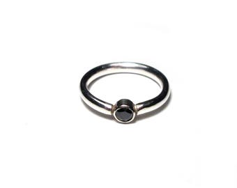 Narrow silver ring, size 54, sterling silver Ring, small, black stone, black stone, US size 6.8 UK size n