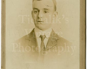 Cabinet Card Photo Young Handsome Victorian Dapper Man Boy, Suit and Tie Portrait by Fred Avery of London England - Antique Photograph