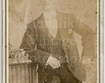 CDV Carte de Visite Photo Young Handsome Victorian Man in Smart Suit Faded Portrait by John Avery of London - Antique Photograph