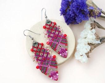 Macrame earrings, bohemian earrings, micro-macrame jewelry, feather earrings, boho chic, tribal, colorful, pink crimson raspberry olive red