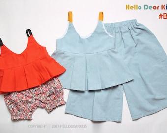 kids sewing pattern pdf/ kids strap top and pants set/ baby sewing pattern/ children clothing/Toddler sewing pattern/6M-12years
