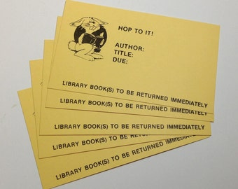Overdue library cards - EASTER library book card - junk journal cards - ephemera - overdue notices - library overdue card - journaling cards