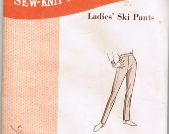 Sew-Knit-n-Stretch 301 Copyright 1969 Vintage 1960's Retro Ladies Ski Pants with Stirrups Size 8, 10, 12