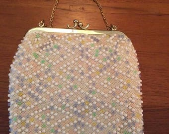 Vintage Mid century Seed Multi Colored Pearl Bead  CORDÈ BEAD Evening Bag with Mirror