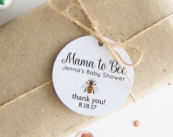 Mama To Bee Tags, Baby Shower Gift Tags, Personalized Thank You Tags, 24