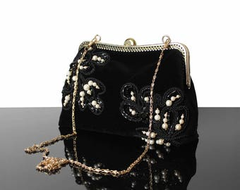 Black velvet bag, black evening bag, black velvet purse, black purse bag, embroidery purse bag, velvet black bag, purse bag