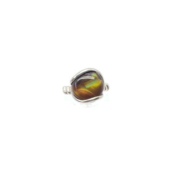 Handmade Rare Stone Ring | Full Moon Ring | Mexican Fire Agate Ring | Sterling Silver Ring Sz 5.5 | Fire Agate Jewelry | Handmade Ring