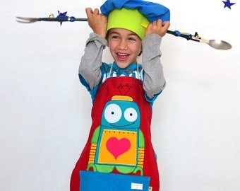 Personalized apron, robots, space, little artist apron. Gift for kids,  astronaut
