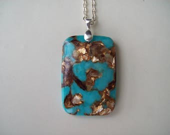 "Copper in Bornite Oblong Pendant 2"" long"