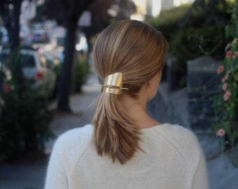 Golden hair barrette womens gift geometric hair clip modern hair clip gold hair clip brass jewelry minimalist hair clips hair accessories
