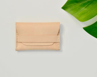Natural Leather Flap Wallet