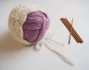 Baby Girl Bonnet Newborn Bonnet Mohair Bonnet Lace Bonnet Crochet Newborn Hat Cream Bonnet Lacy Bonnet Baby Girl hat Knit Bonnet
