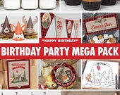 SALE Birthday Party Mega Pack - Buffalo Plaid Woodland / INSTANT DOWNLOAD / Lumberjack Birthday Decoration / Fox Moose Bear / Printable bp06