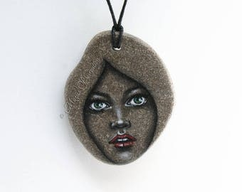 Girl portrait hand painted on stone pendant: original acrylic painting on stone, unique art jewelry by Magics of Creation