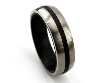 Carbon Fiber Ring, Titanium Ring, Carbon Fiber Jewelry, Simple Mens Ring, Women's Ring, Unisex Jewelry, Unique Modern, Modern Ring Band,6mm