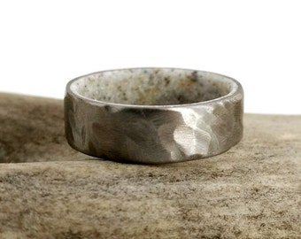 Deer Antler Ring, Antler Ring, Men's Ring, Women's Ring, Antler Wedding Ring, Antler Wedding Band, Antler Ring Men, Hammered Ring