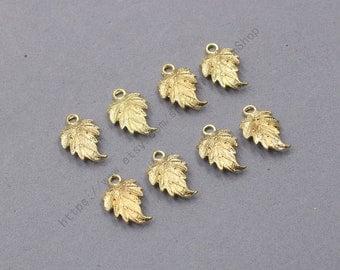 6Pcs, 18mm Raw Brass Leaf Charms Pendants LHY-005