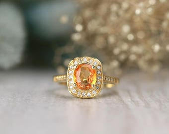 ONE-OF-A-KIND: Orange Sapphire and Diamond Engagement <Prong/Pave> Solid 14K Yellow Gold (14KY) Estate Ring *Fine Jewelry* (Free Shipping)