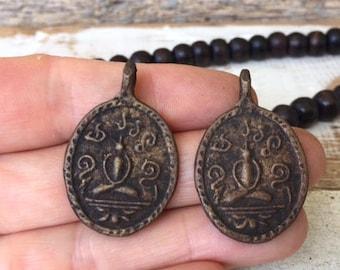 Set of 2 Thai Buddha Amulet Pendants / Thai Amulet Pendants / Brass Amulet Pendants / Amulets / Buddhist Amulets / Amulet / Buddha Charm