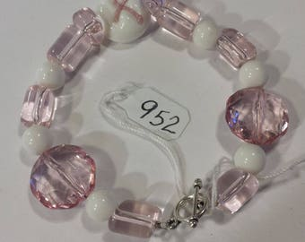 """Pink Ribbon White Awareness Breast Cancer Lampworked glass and Faceted acrylic and glass beaded Bracelet 6 1/2"""" Inch"""