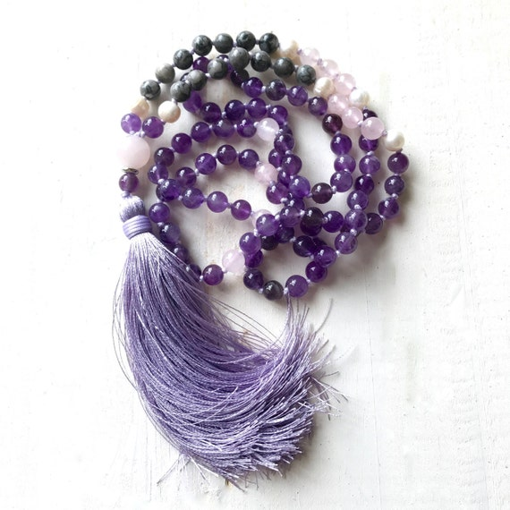 Amethyst And Jasper Mala Necklace, Calming Fears Mala Beads, Mala For Healing, Chakra Healing Mala, 108 Beaded Mala, Yoga Mala Necklace