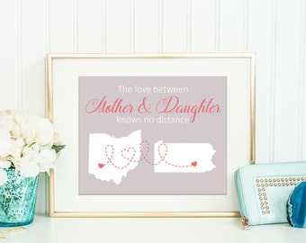 Personalized Gift For Mom - The Love Between Custom Map Art - Custom Location - Long Distance Map Art - Mothers Day Gift - Grandparents Day