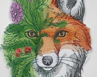 Flowers Fox iron on patch for jackets, Flowers Patches, Fox patch, Fox in Flowers patch, Large patch, Cute patches, custom patches
