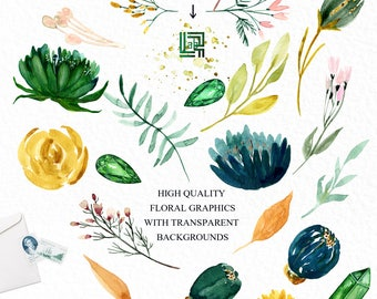 Emerald green and mustard yellow watercolour flowers clipart, hand drawn: Elements. deep green and mustard yellow colors.  precious stones