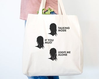 Headphone Rules Canvas Tote Bag - Gym Bag, Motivational, Funny Weightlifting Bag