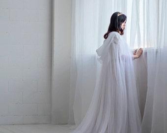 Ethereal - bridal cloak / wedding cape / bridal cape / tulle bridal cloak / wedding cloak / unique bridal cover up / veil alternative