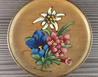 Vintage Wooden Plate Europe Folk Art Wood Hand Painted Floral Kitchen Wall Decor