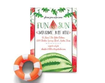 Watermelon Invitation   Pool Party   Backyard BBQ  