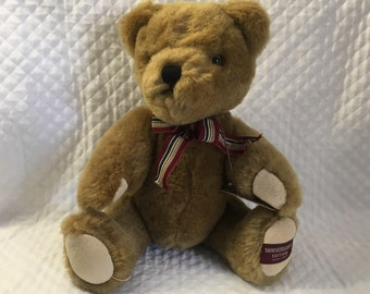 "Boyd's Bears Matthew Bear, 20th Anniversary Bear, Wool Jointed Bear, Australian Wool, Posable Bear, 11"" Tan Plush Bear, Striped Ribbon"