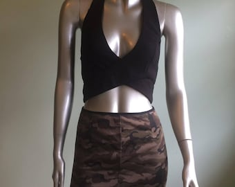 camouflage high waisted skirt