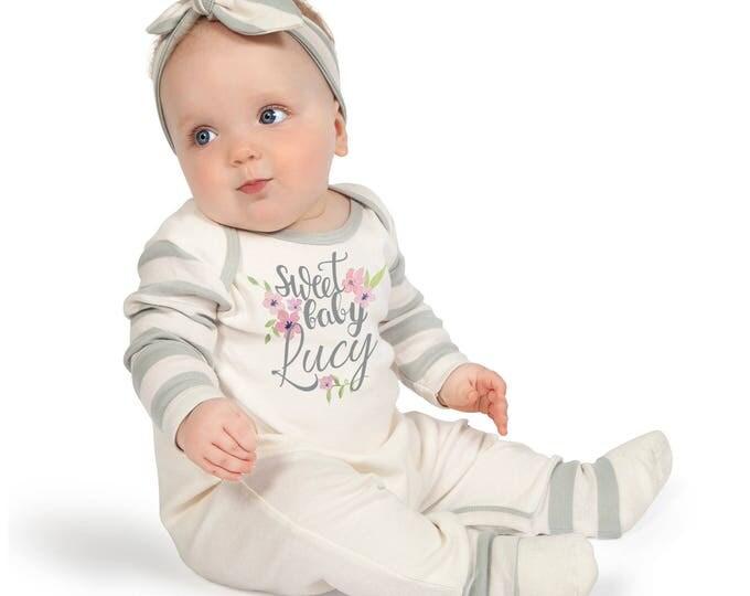 Personalized Baby Girl Take Home Bodysuit Romper, Sweet Baby Name Romper, Customized Baby Girl Romper, TesaBabe 81 grey stripe Romp HB E1