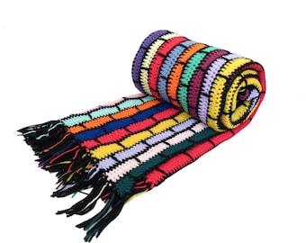 Vintage Retro Bright Colors Afghan Throw Blanket 80 x 50