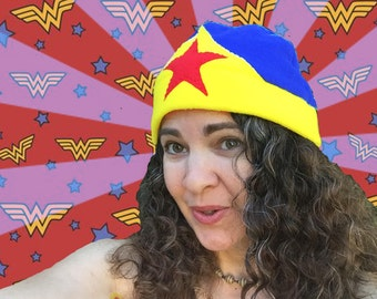 Wonder Woman Cosplay, Wonder Woman Fan Art, super hero beanies, Wonder Woman skull cap, gift ideas for teens