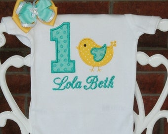 2 pc. Girls Bird Birthday Bodysuit or Shirt and Hair Bow! Teal and yellow bird birthday applique top with custom name and matching bow!