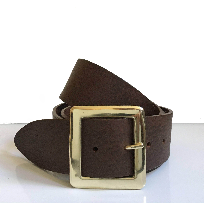 2 wide brass leather belt 2 inch belt brass buckle