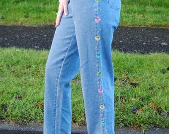 90s Vintage Embroidered Floral High Waisted Mom Jeans