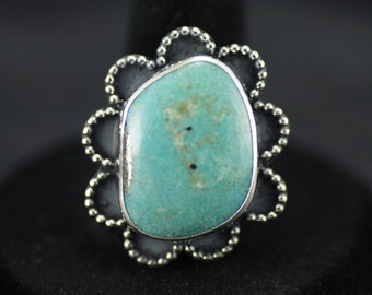 Unique  Blue Turquoise & Pyrite Ring US Size 7.5