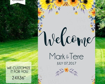 WELCOME WEDDING SIGN - Sunflowers Wedding Sign - Gray and Yellow Welcome Sign - Fancy Welcome Sign - Wedding and all kind of event
