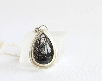 Black Rutilated Quartz Necklace, Rutile Quartz Necklace, Sterling Silver, Healing Crystal, Silversmith Jewelry