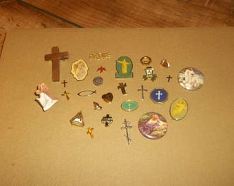 Christian Religious Pins Collection for Trucker Cap, Lapel Pin, Snapback Cap Pin, Jesus, Cross, Guardian Angels, Catholic, Lutheran Church