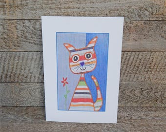 Cat Greeting Card, A5 Greeting Card, Rainbow Cat, Applique Fabric Art, Quirky Note Card, Blank Greeting Card, Recycled Card, Eco Friendly