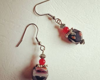 Boucles d'Oreille millefiori facettes rouge et argent