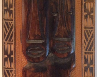 Vintage Decorative Wooden Tiki Plaques Set of Two